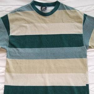 Vintage 100% cotton striped & textured T-shirt